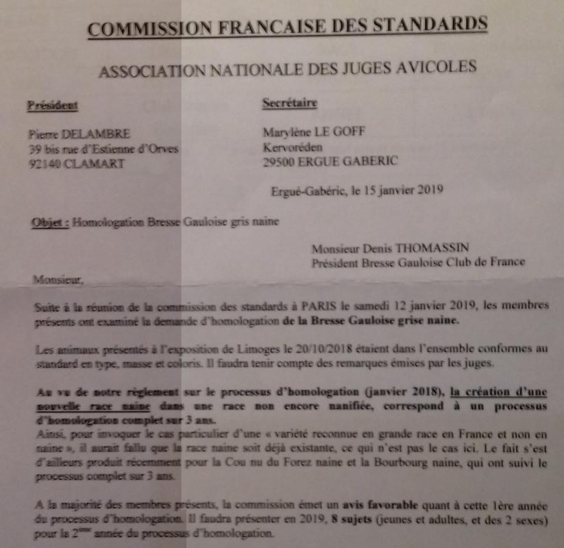 Resultat commission des standards a paraitre